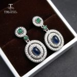 TBJ,classic <b>earring</b> with natural sapphire and emerald <b>earring</b> in 925 sterling <b>silver</b> gemstone jewelry for women as special gift