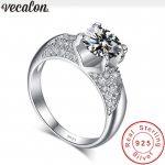 Vecalon <b>Handmade</b> New 925 Sterling Silver ring Pave setting 5A Zircon Cz Engagement wedding Band rings for women Fashion <b>Jewelry</b>
