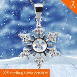 FREE SHIPPING, snowflake Shape Sterling <b>Silver</b> <b>Jewelry</b> Pendant Accessories 3pcs