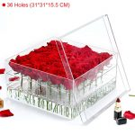 acrylic rose box clear rose boxes clear plastic boxes for gifts Flowers box with lid <b>Handmade</b> Gift Makeup Organizer C217