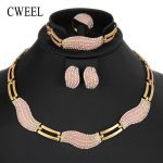 CWEEL Dubai Indian Nigerian Wedding <b>Jewelry</b> Sets For Women Link Chain African Beads <b>Jewelry</b> Set Imitation Crystal Jewellery Set