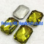 Olivine Colour Square Octagon Shape Crystal Fancy Stone Glass Crystal Square Stone For <b>Jewelry</b> <b>Making</b>