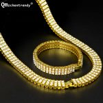 Men Hip Hop Rock Gold <b>Silver</b> Bling 3 Three Rows Rhinestone Pharaoh Jewelry Set Miami Cuban Chain 30″ CZ Necklace <b>Bracelet</b> Set