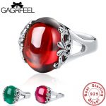 GAGAFEEL Retro 925 Sterling Silver Inlay Red Garnet Round Rings For Women Fine <b>Jewelry</b> Vintage <b>Handmade</b> Finger Rings for Female