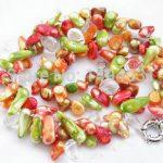 Wholesale Pearl <b>Jewelry</b> 2Row 19 Inches Red Green Yellow Biwa Genuine Pearl Crystal Beads Necklace <b>Handmade</b> <b>Jewelry</b> – XZN60