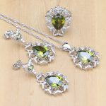 Light Olive Green Zircon White Crystal 925 Silver <b>Jewelry</b> Sets For Women Party <b>Accessories</b> Earrings/Pendant/Necklace/Rings