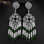 Pera <b>Handmade</b> Large Long Natural Pearl Russian Vintage Women Wedding Party Tassel Drop Earrings <b>Jewelry</b> With Green Stone E143