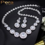 Pera Elegant <b>Silver</b> Color Bridal Wedding Party Classic 3 Big Round Cubic Zirconia Stone Jewelry Accessories Set For Brides J135