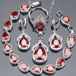Red Zirconia Bridal Jewelry Sets Stone Earrings For Women Wedding <b>Silver</b> 925 Jewelry With <b>Bracelet</b> Necklace Ring Set Gifts Box