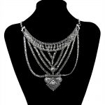 new New Collares <b>Jewelry</b> European Style Bib Statement Necklace <b>Antique</b> Gold/Silver Plated Box Chain Necklaces for Women