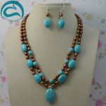100% Natural Freshwater Pearl Jewelry Set,Brown Color Rice Pearls Blue Turquoises 2 Rows Necklace <b>Silver</b> Dangle <b>Earrings</b>