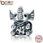 BAMOER New Arrival 925 Sterling Silver Baby Elephant & Openwork Screw Animal Beads fit Charm Bracelet for Women <b>Jewelry</b> SCC202