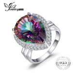 JewelryPalace Huge 15ct Genuine Rainbow Fire Mystic Topaz Ring Pure 925 Sterling <b>Silver</b> Brand Fashion GemStone <b>Jewelry</b> For Women