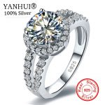 YANHUI Wholesale Real Solid 925 <b>Sterling</b> <b>Silver</b> Engagement Ring Fine <b>Jewelry</b> 2 Carat CZ Diamant Wedding Rings For Women JZR510