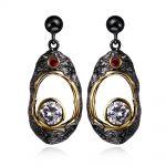 Vintage women black Earrings Cubic zircon long drop Earrings <b>supplies</b> for fashion <b>jewelry</b> free shipment new year gift