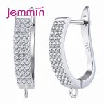 Jemmin New Arrival Full Clear Cubic Zirconia 925 Sterling <b>Silver</b> <b>Earrings</b> For Women Female Lady Party Jewelry High Quality