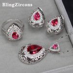 BlingZircons Vintage Design CZ Sterling Silver 925 Turkish <b>Jewelry</b> Rose Red Crystal Water Drop Necklace Earring Ring Sets JS022