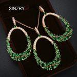 SINZRY Luxury <b>jewelry</b> AAA Cubic Zirconia <b>Jewelry</b> Sets elegant big circle green brilliant pendant necklaes earring sets