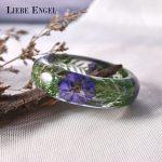 LIEBE ENGEL Exquisite Purple Flower Green Leaf Love Bangle Bracelet Dried Flower Resin Bracelet Cuff Women Gift Indian <b>Jewelry</b>