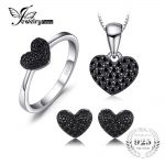 JewelryPalace New Heart 0.8ct Genuine Spinel Pendant Necklace Ring Stud <b>Earrings</b> 925 Sterling <b>Silver</b> Jewelry Sets For Women Gift