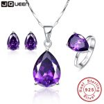 3PCS/Set Luxury Women Wedding Water Drop <b>Earrings</b> Amethyst Pendant Necklace Rings Bridal Fine Jewelry Sets <b>Silver</b> 925 Jewelry