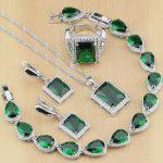 Sterling <b>Silver</b> Jewelry Green Zircon White Crystal Jewelry Sets For Women Earrings/Pendant/Necklace/Rings/<b>Bracelet</b> T130