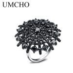 UMCHO Natural Gemstone Black Spinel Ring Solid 925 <b>Sterling</b> <b>Silver</b> Female Cluster Rings For Women Round Fine <b>Jewelry</b> Gift