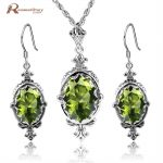 Authentic 925 Sterling <b>Silver</b> Set Bridal Jewelry Olive Green CZ Jewelry Sets For Women Party Vintage Handmade <b>Earrings</b>/Pendant