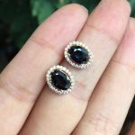 Natural Black Sapphire Stud Earrings For Women 925 <b>Sterling</b> <b>Silver</b> Fine <b>Jewelry</b>