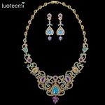 LUOTEEMI 2017 Big Luxurious Choker Bohemia Style Shing Clear Multi Cubic Zircon Necklace Gold-Color Bridal <b>Wedding</b> <b>Jewelry</b>