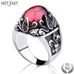MetJakt Punk Sirius's Eye Garnet Ring with Obsidian Solid 925 <b>Sterling</b> <b>Silver</b> Ring for Women and Men Handmade <b>Jewelry</b>