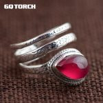 GQTORCH Natural Gemstone Red Ruby Rings for Women 925 Sterling <b>Silver</b> Snake Ring Vintage Multi Layers Opening Handmade <b>Jewelry</b>