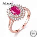 Almei 1ct Natural Ruby 925 <b>Sterling</b> <b>Silver</b> Rose Gold Color <b>Jewelry</b> for Women Princess Diana Engagement Rings with Box 40% FJ091