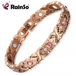 RainSo Pink Crystal Gem Bracelet Magnetic Health Bio Energy Bracelets Rose Gold <b>Fashion</b> <b>Jewelry</b> Christmas Gifts for Women Lady