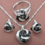 Classic Black Cubic Zirconia For Women 925 Sterling Silver <b>Jewelry</b> Sets Necklace Pendant Earrings Rings Free Shipping TZ0171