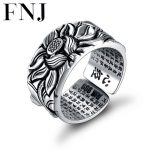 925 Silver Lotus Rings Good Luck Buddha Adjustable Size Trendy Popular S925 Solid Thai Silver Ring for Women Men <b>Jewelry</b>