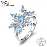JewelryPalace Promotion 0.8ct Snowflake Genuine Blue Topazs Ring Solid 925 Sterling Silver Fine <b>Jewelry</b> Fashion Gift For Women
