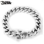 ZABRA 925 <b>Silver</b> Bracelet Punk Charm <b>Sterling</b> <b>Silver</b> Spring Clasp Link Chain Bracelet Men <b>Jewelry</b> For 2017