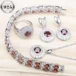 Round Red Dark Zircon Silver 925 Wedding <b>Jewelry</b> Sets Women Earrings With Stones Bracelets Pendant&<b>Necklace</b> Rings Set Gift Box