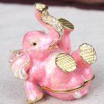 cute elephant figurine birthday gifts <b>handmade</b> metal elephant shape <b>jewelry</b> box gift Pink Cute Elephant Trinket Box