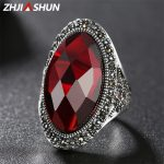 ZHJIASHUN Luxury Red Agate Rings for Women Vintage 925 Sterling <b>Silver</b> <b>Jewelry</b> Accessories Birthday Anniversary Gift