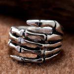 <b>Handmade</b> Thailand 925 Silver Skull Ring Skeleton Hand Ring Man Ring Christmas <b>Jewelry</b> Gift