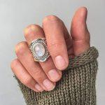 Fashion Bohemian Vintage Moonstone Rings For Women <b>Antique</b> Tibetan Silver Exaggerated Healing Crystal Ring Indian <b>Jewelry</b> R556