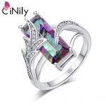 CiNily Mystic Zirconia Cubic Zirconia Silver Plated Wholesale 2018 New Style for Women <b>Jewelry</b> Gift Ring Size 6-10 NJ11054