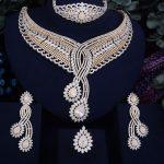 GODKI 93mm Super Luxury LeavesWomen Wedding Cubic Zirconia 4pcs <b>Necklace</b> Earring Ring Bangle Dubai <b>Jewelry</b> Set Jewellery Addict