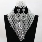 2017 Latest Clear White Crystal Beads <b>Handmade</b> Full Women Nigerian Wedding Party Beads Lace <b>Jewelry</b> Sets Free Shipping ABK982