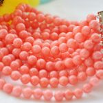 free shipping 1443 8rstrands round pink coral <b>bracelet</b> 8inch