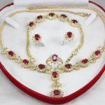 Prett Women's Wedding New Design Charming Red Zircon Necklace Earing Bracelet Set Bridal wide watc