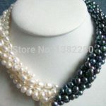 New Arrival 5rows 7-8mm White&black Pearl Necklace Chain 18inch Women Girl Fashion <b>Jewelry</b> Design <b>Make</b> Wholesale Price JT5587