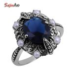 Szjinao Vintage <b>Jewelry</b> Wholesale Fashion 100% Natural Pearl + Victoria Sapphrie Women 925 Sterling <b>Silver</b> Ring